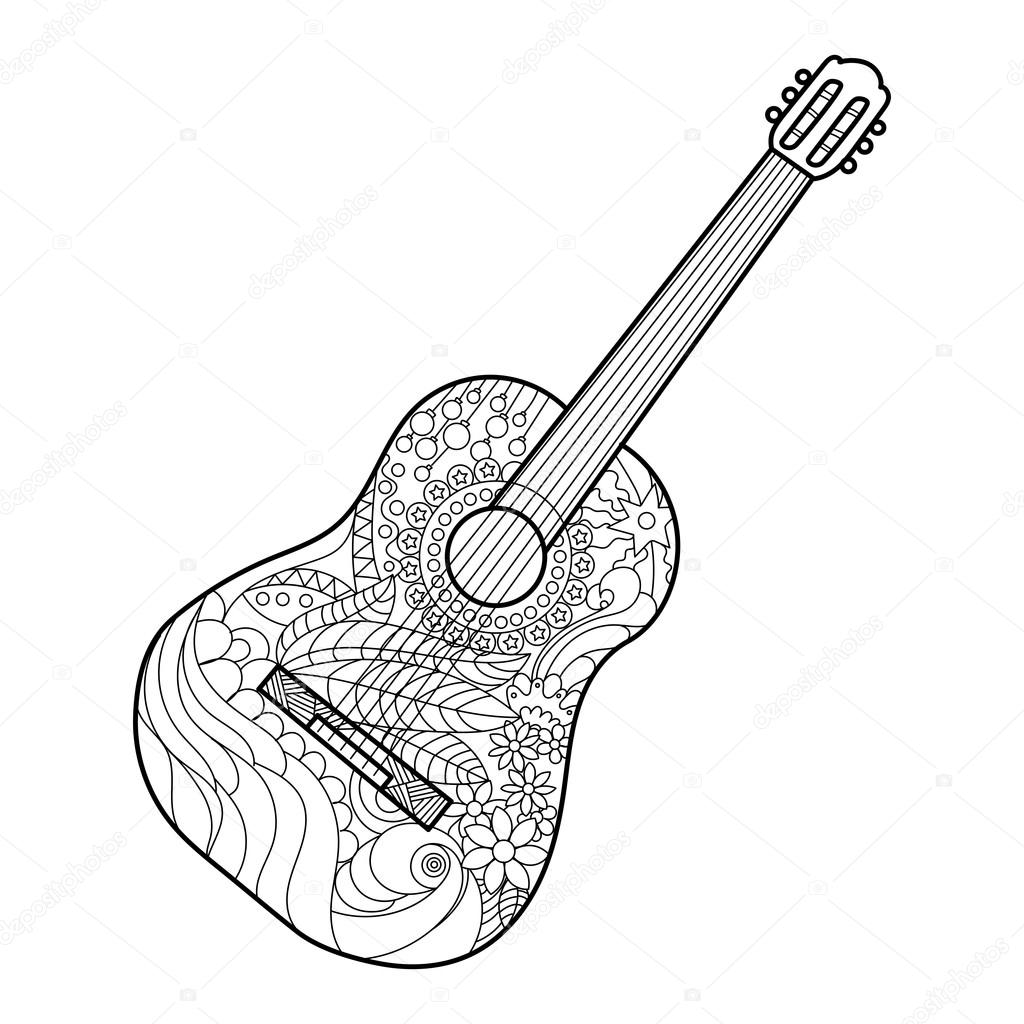Guitar line drawing at getdrawings free for personal use