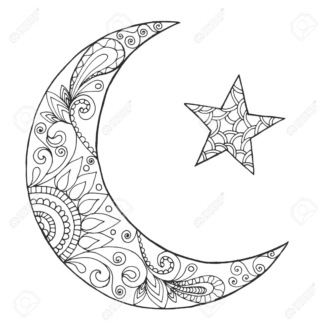 Half And Half Moon Half Sun Coloring Pages Of Star