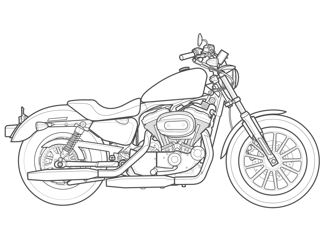 Harley Davidson Motorcycle Drawing At Getdrawings