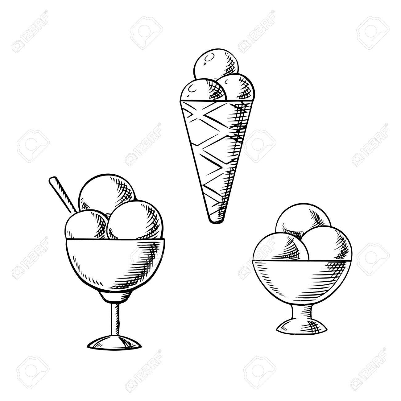 Ice Cream Scoop Drawing At Getdrawings