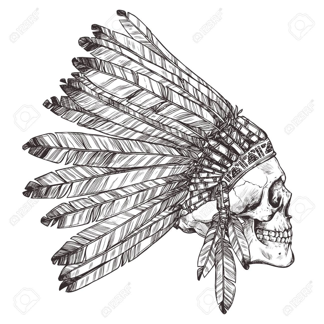 Indian Chief Headdress Drawing At Getdrawings
