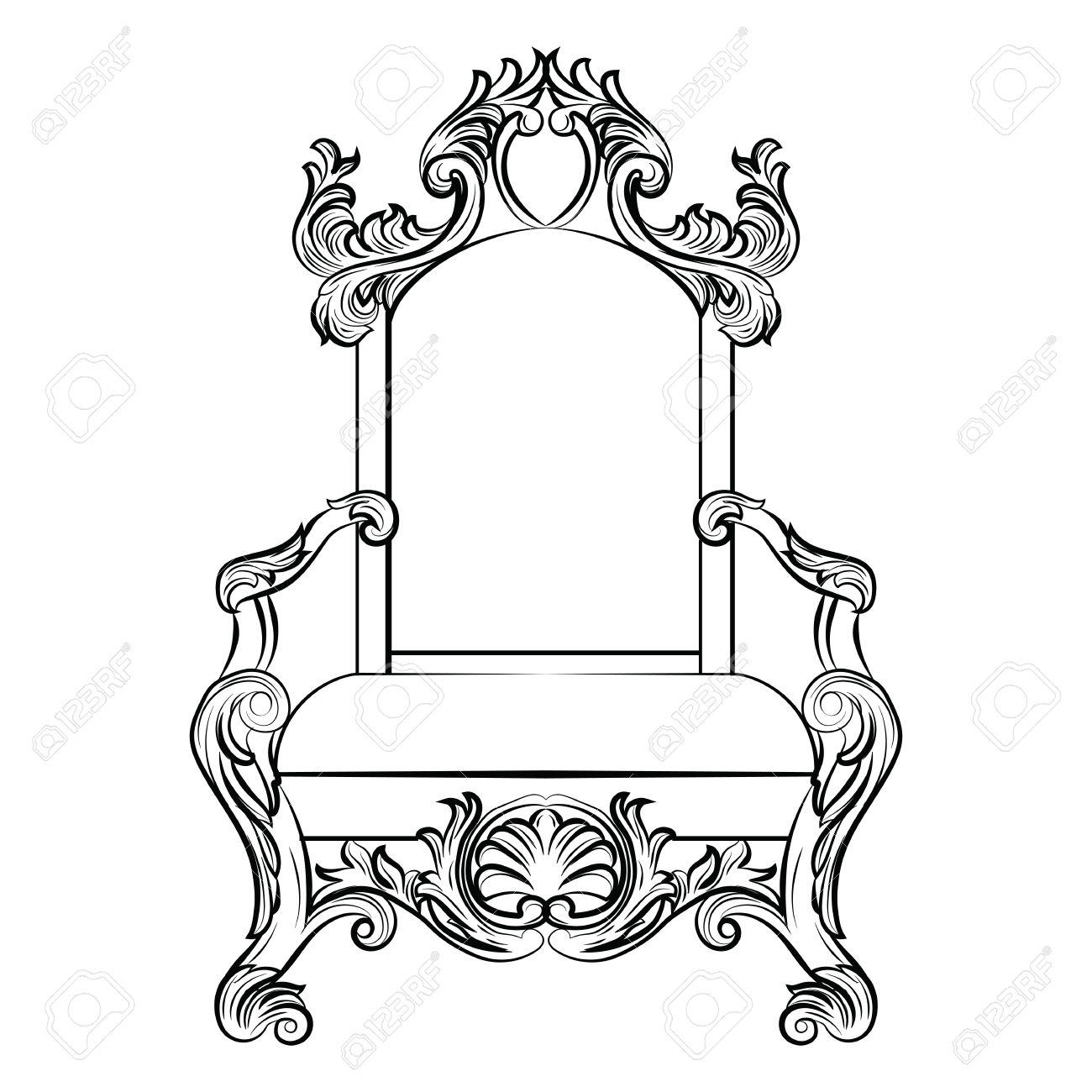 Drawing Throne His King Sitting