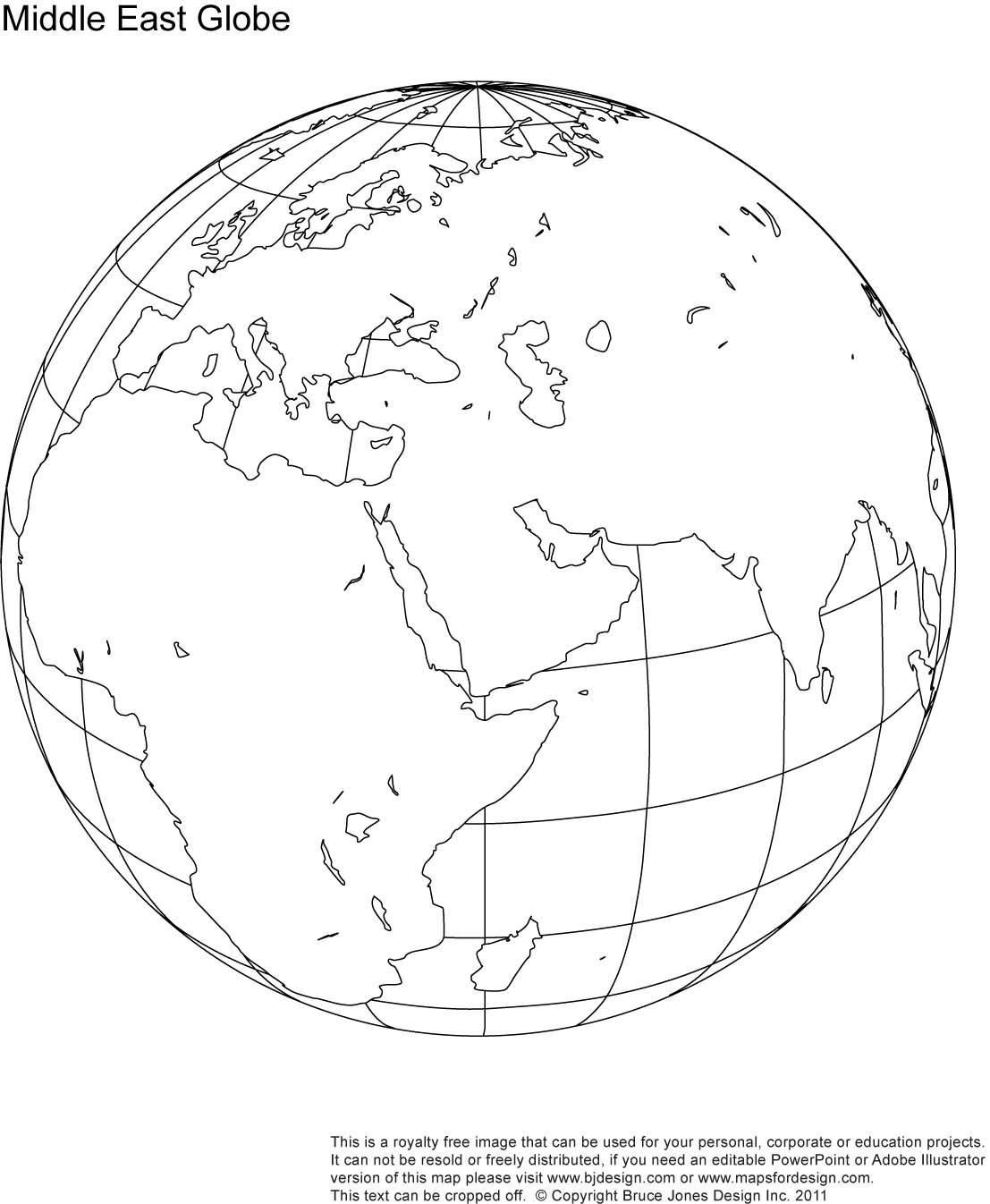 Earth White Middle Map Black And