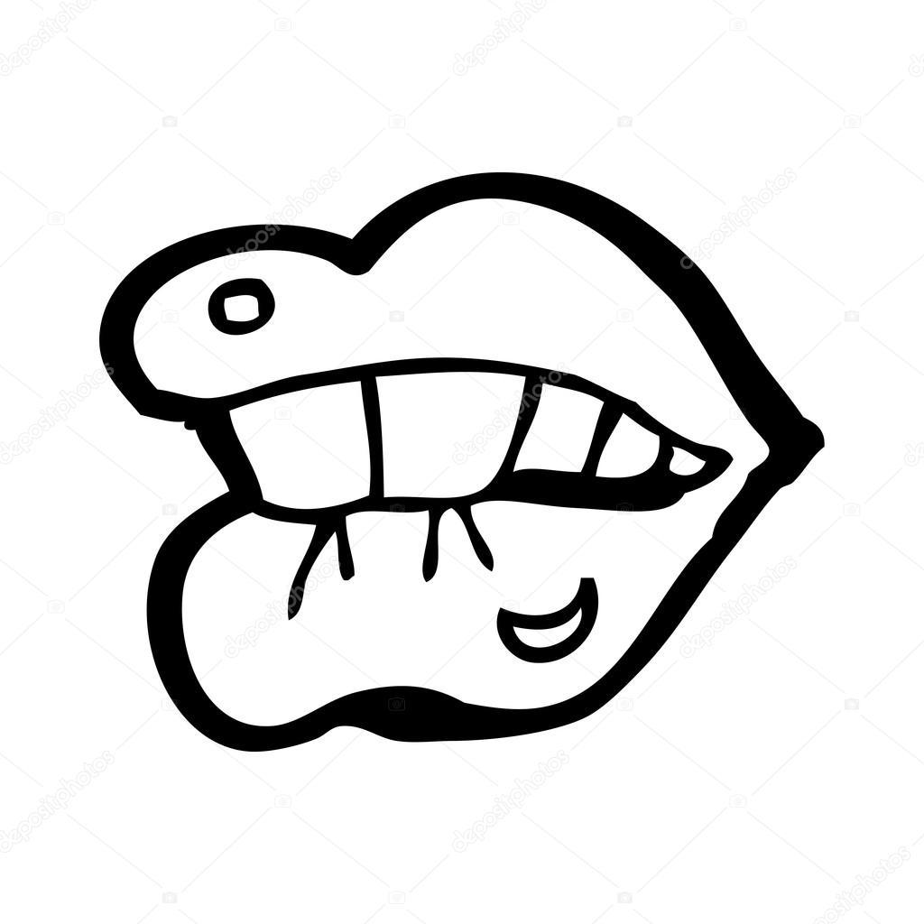 Lip Biting Drawing At Getdrawings
