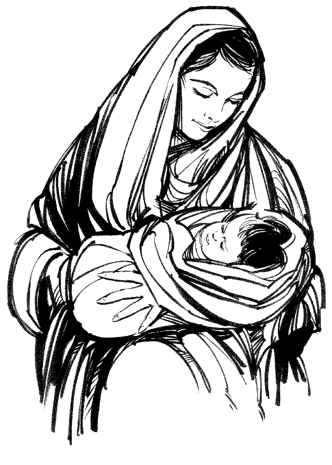 Mary And Jesus Drawing At Getdrawings