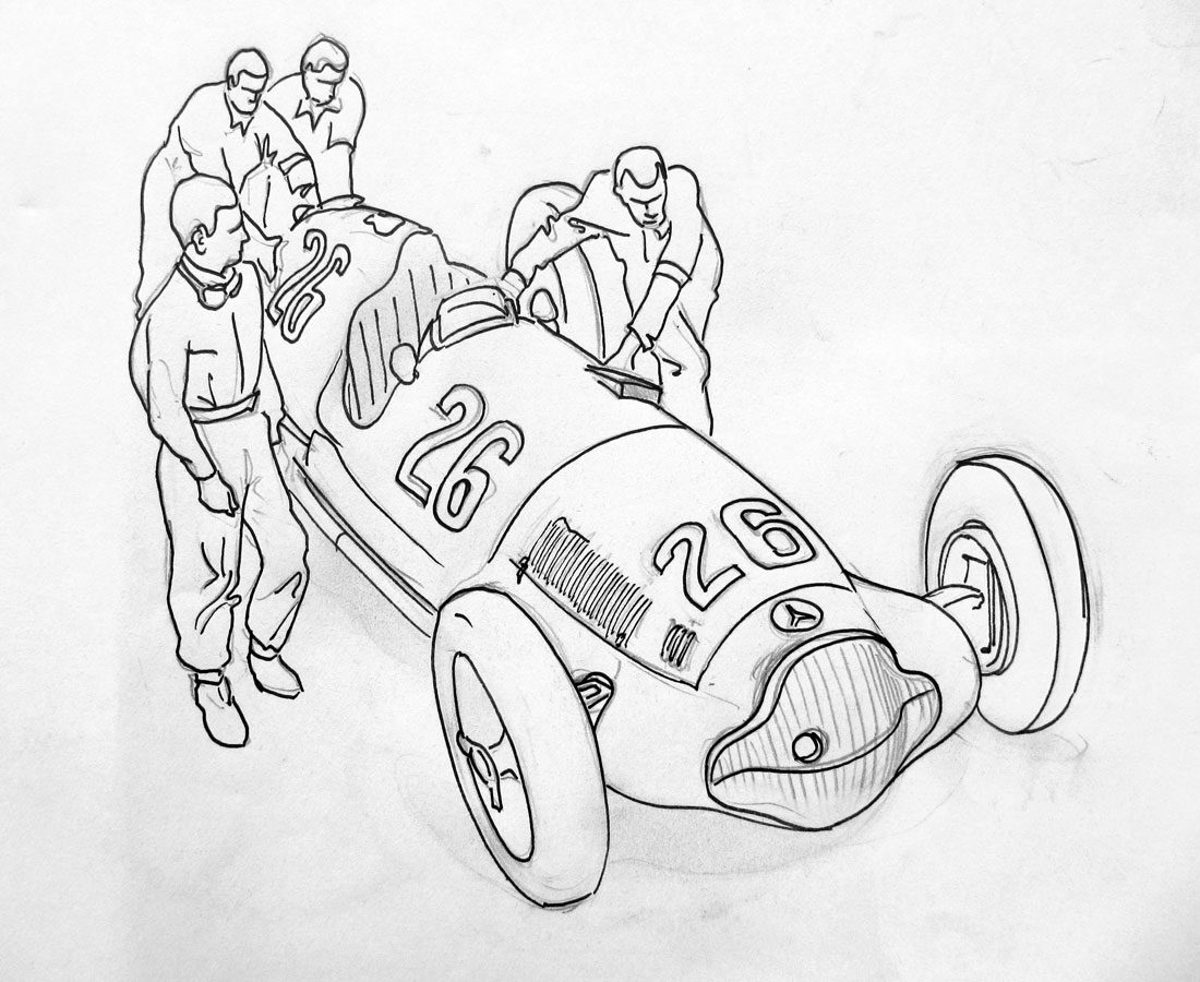 1100x900 the racing line » rudi caracciola mercedes pit crew