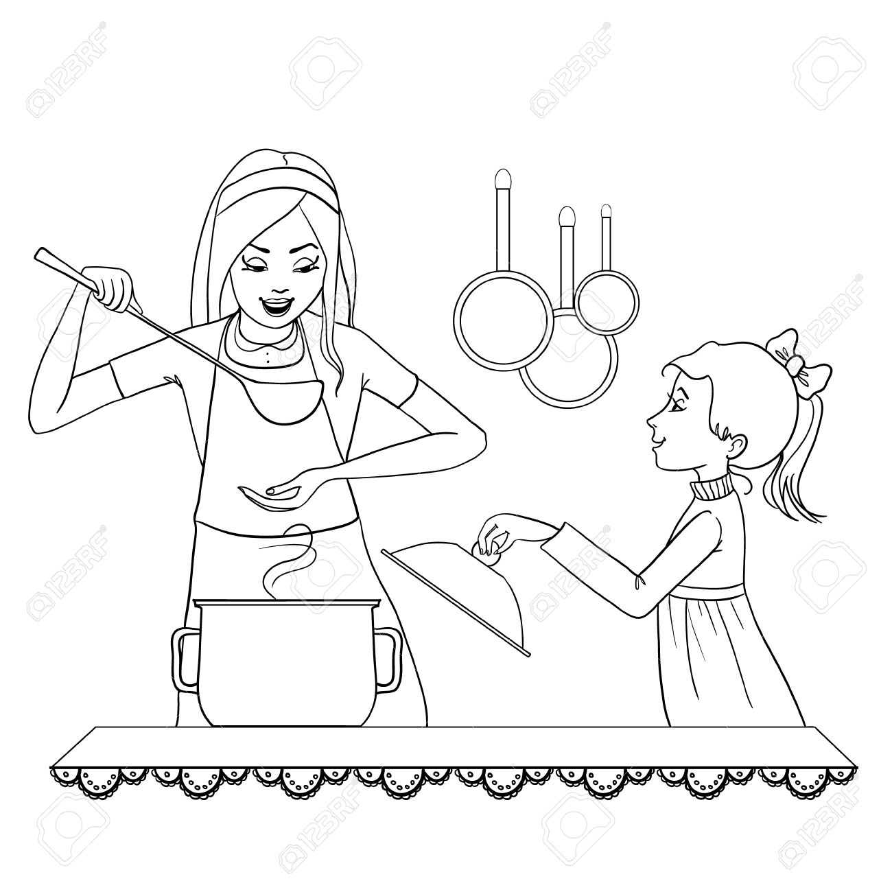 Mother Cooking Drawing At Getdrawings