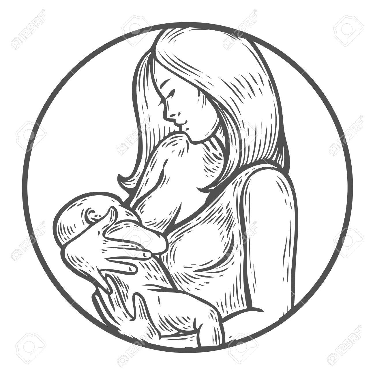 Mother Holding Baby Drawing At Getdrawings