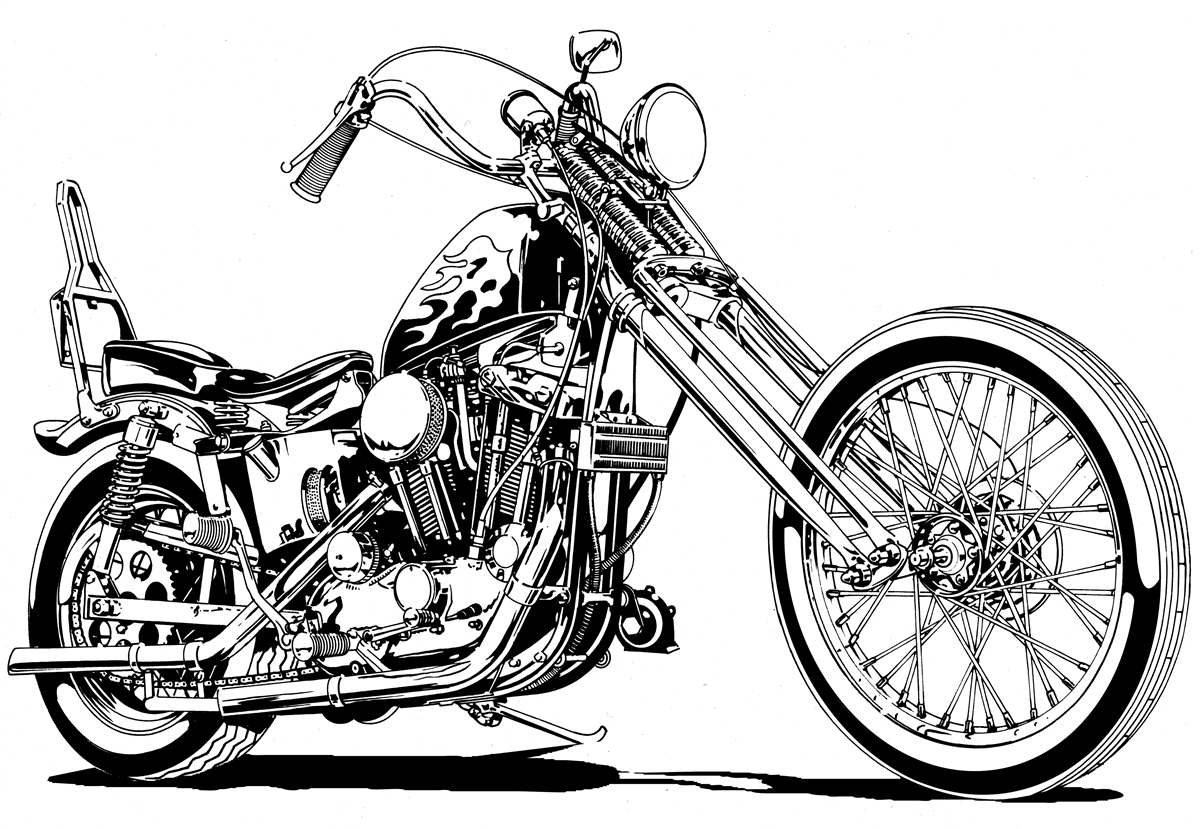 Motorcycle Chopper Drawing At Getdrawings