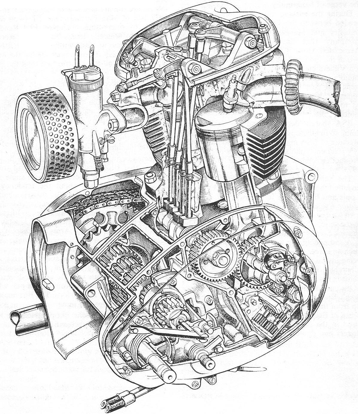 Motorcycle engine drawing at getdrawings free for personal use