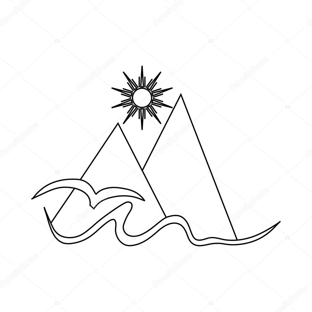 Mountain And Sun Drawing At Getdrawings