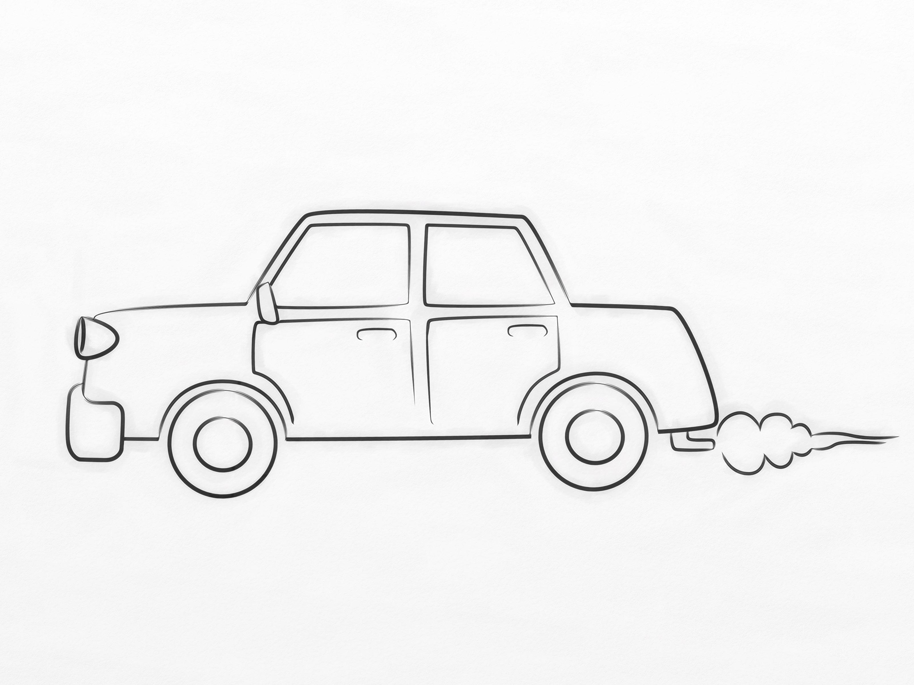 3200x2400 car drawing on