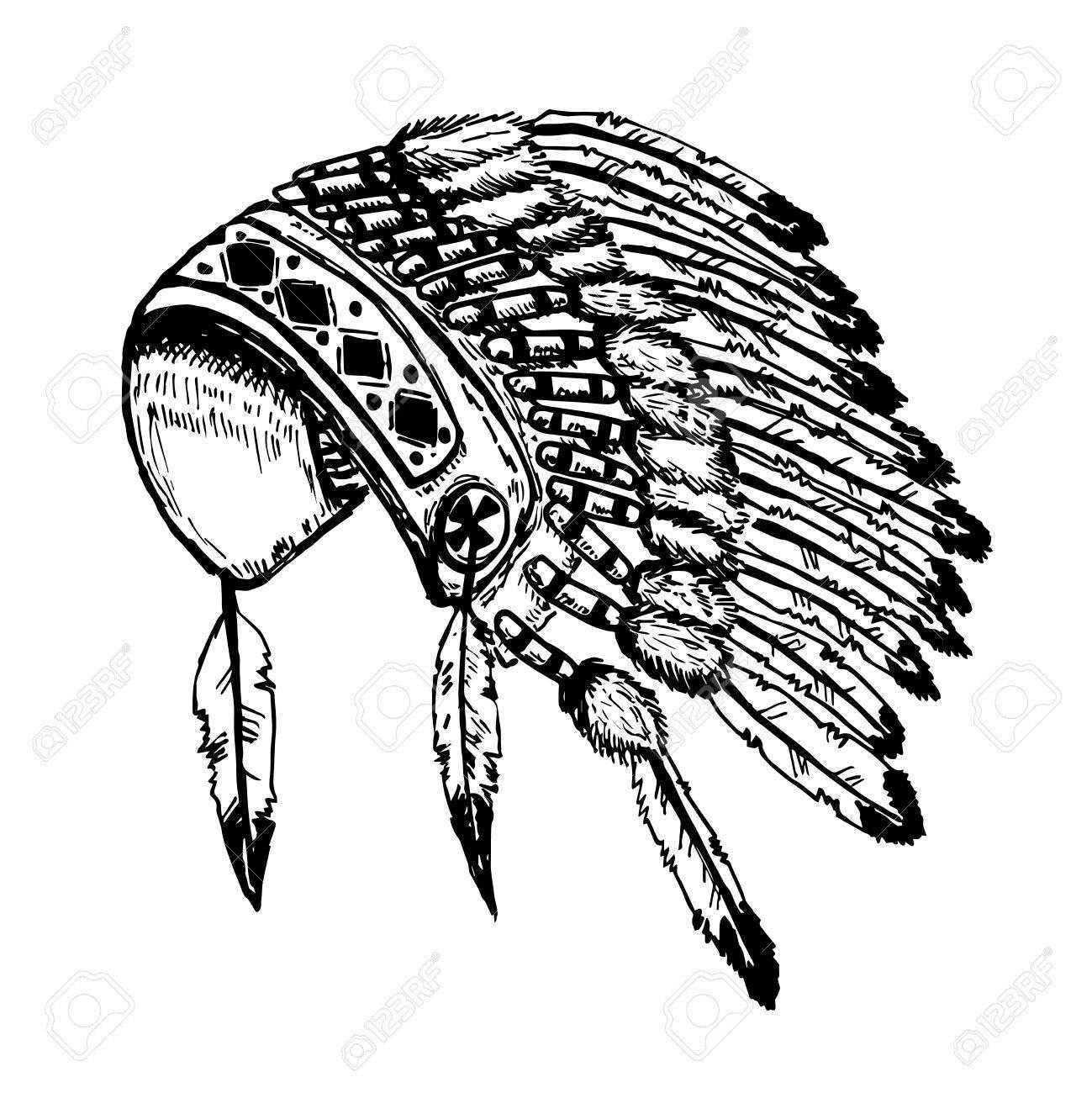 Native American Headdress Drawing At Getdrawings