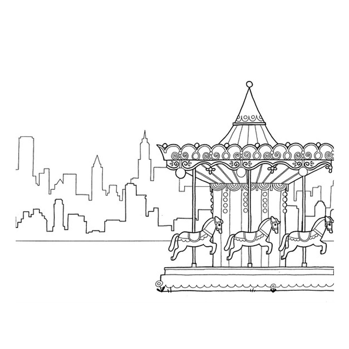 New York Skyline Drawing Color At Getdrawings