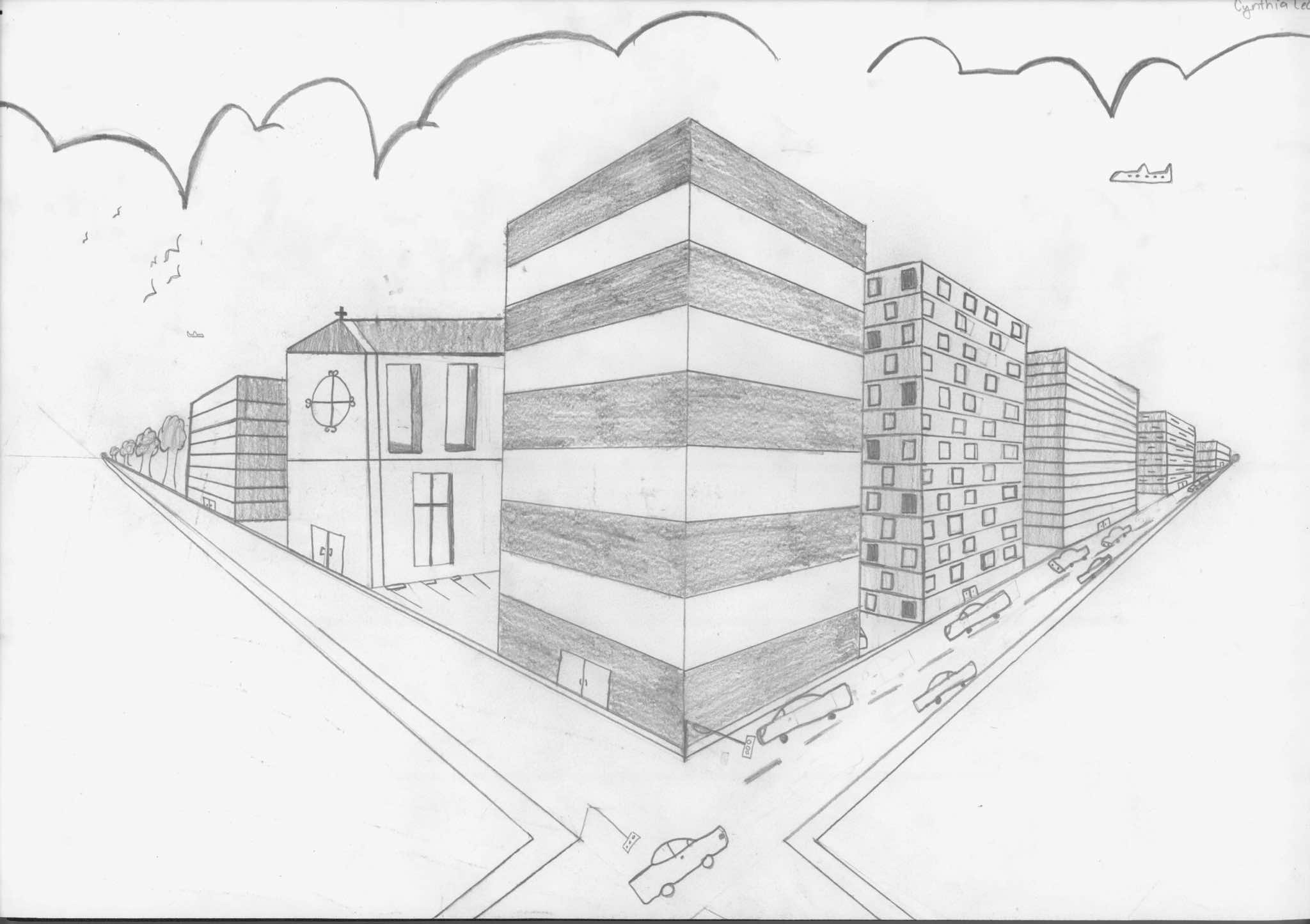 One Point Perspective City Drawing At Getdrawings