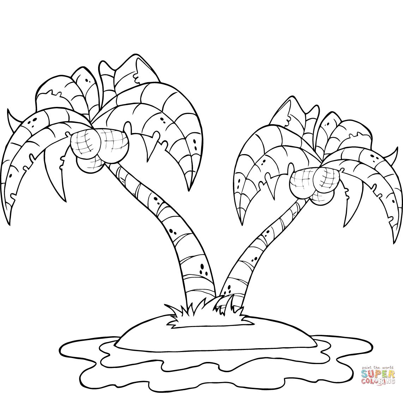 Palm Tree Beach Drawing At Getdrawings