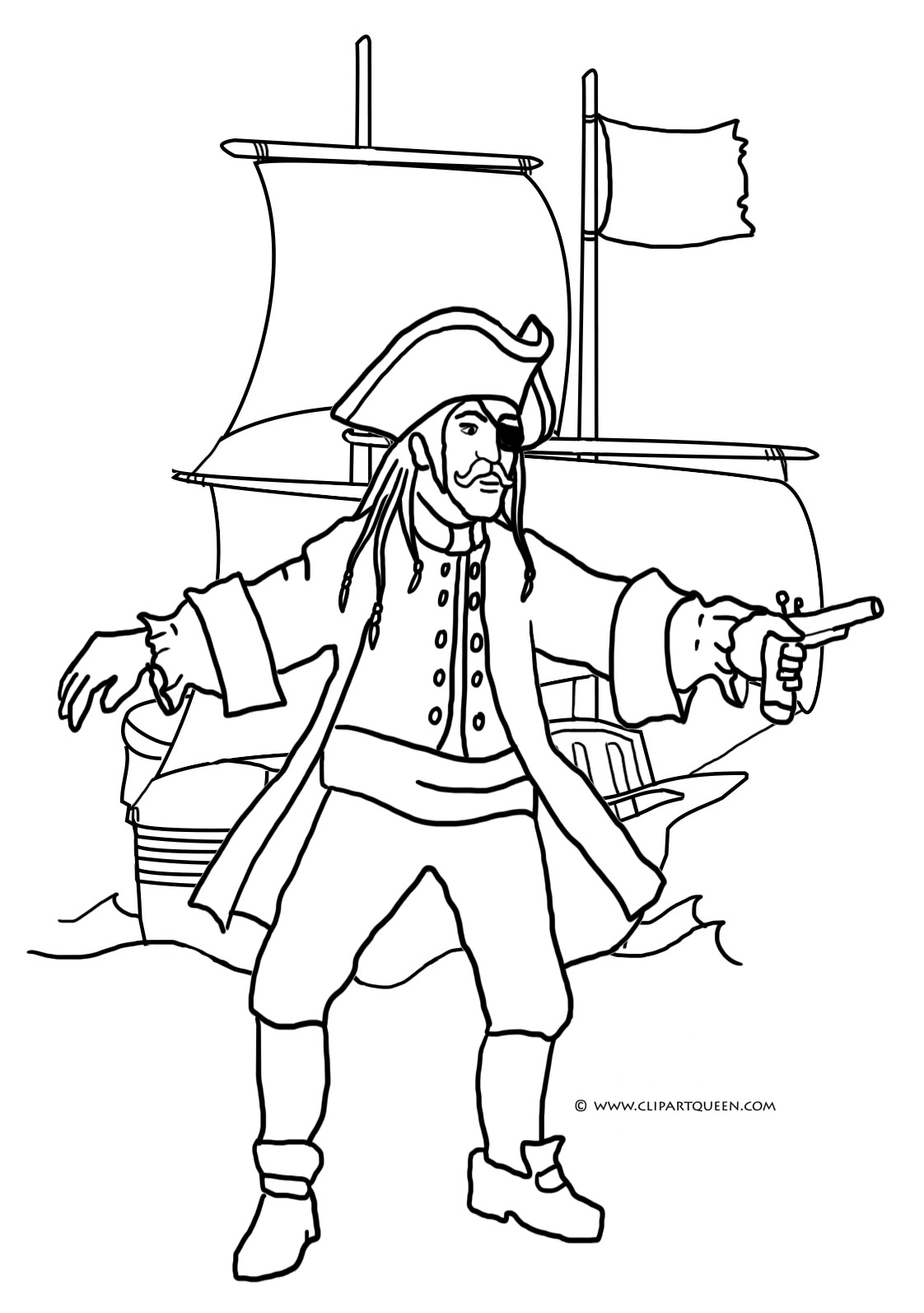 Pirate Ship Line Drawing At Getdrawings