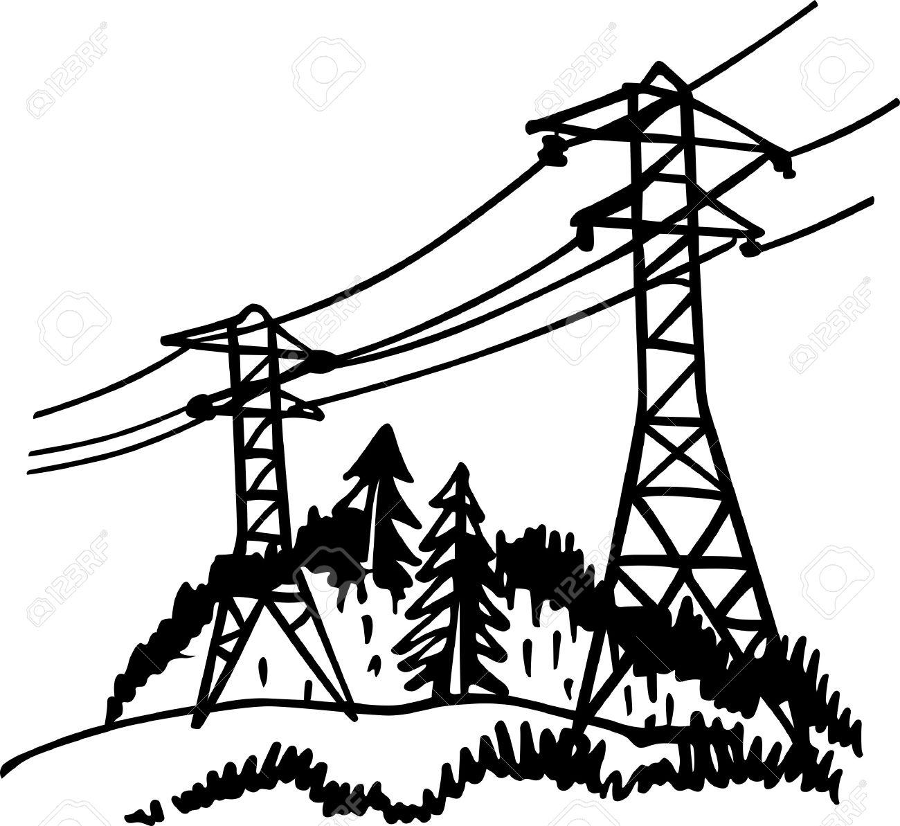 Power Lines Drawing At Getdrawings