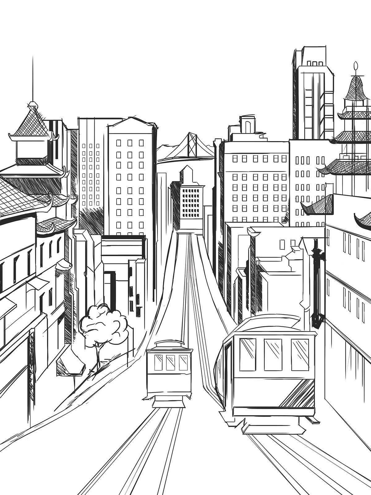 San Francisco Bridge Drawing At Getdrawings