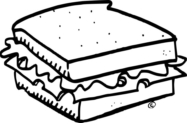 Sandwich coloring pages for kids