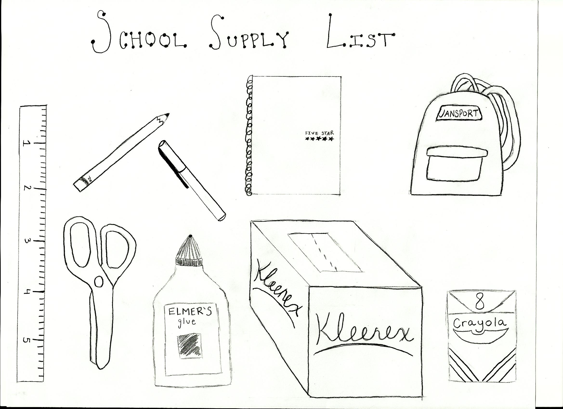 School Supplies Drawing At Getdrawings