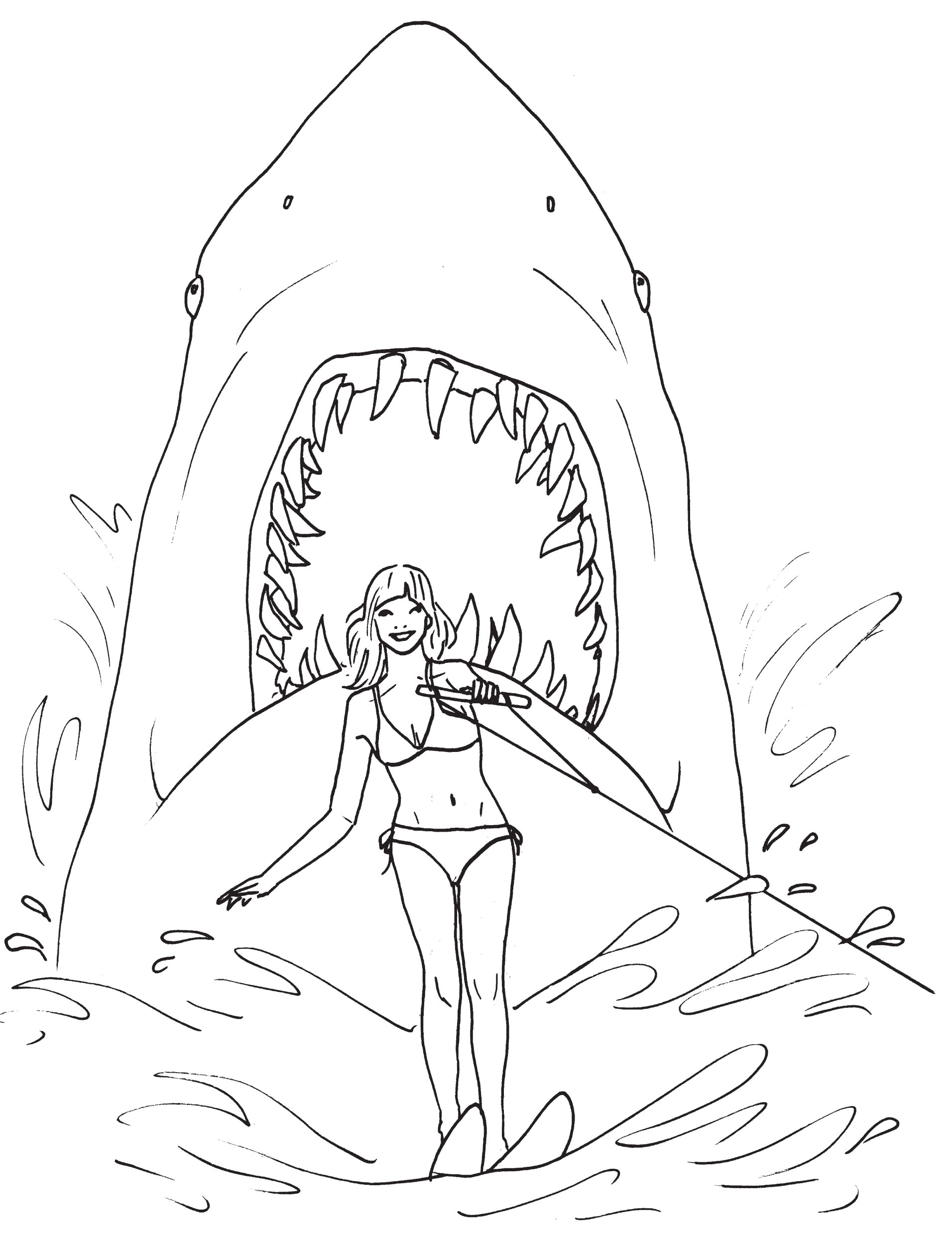 Shark With Mouth Open Drawing At Getdrawings