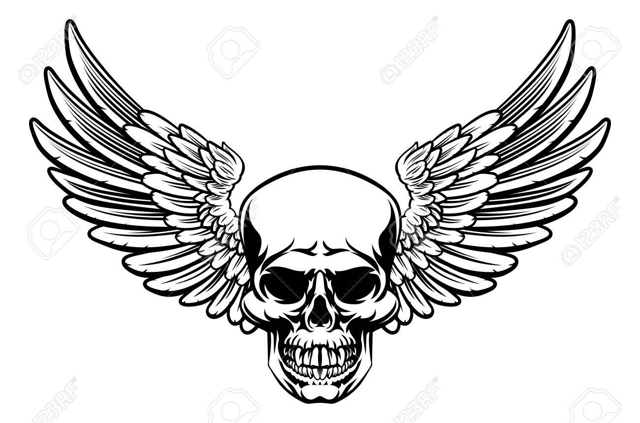 Skull With Wings Drawing At Getdrawings