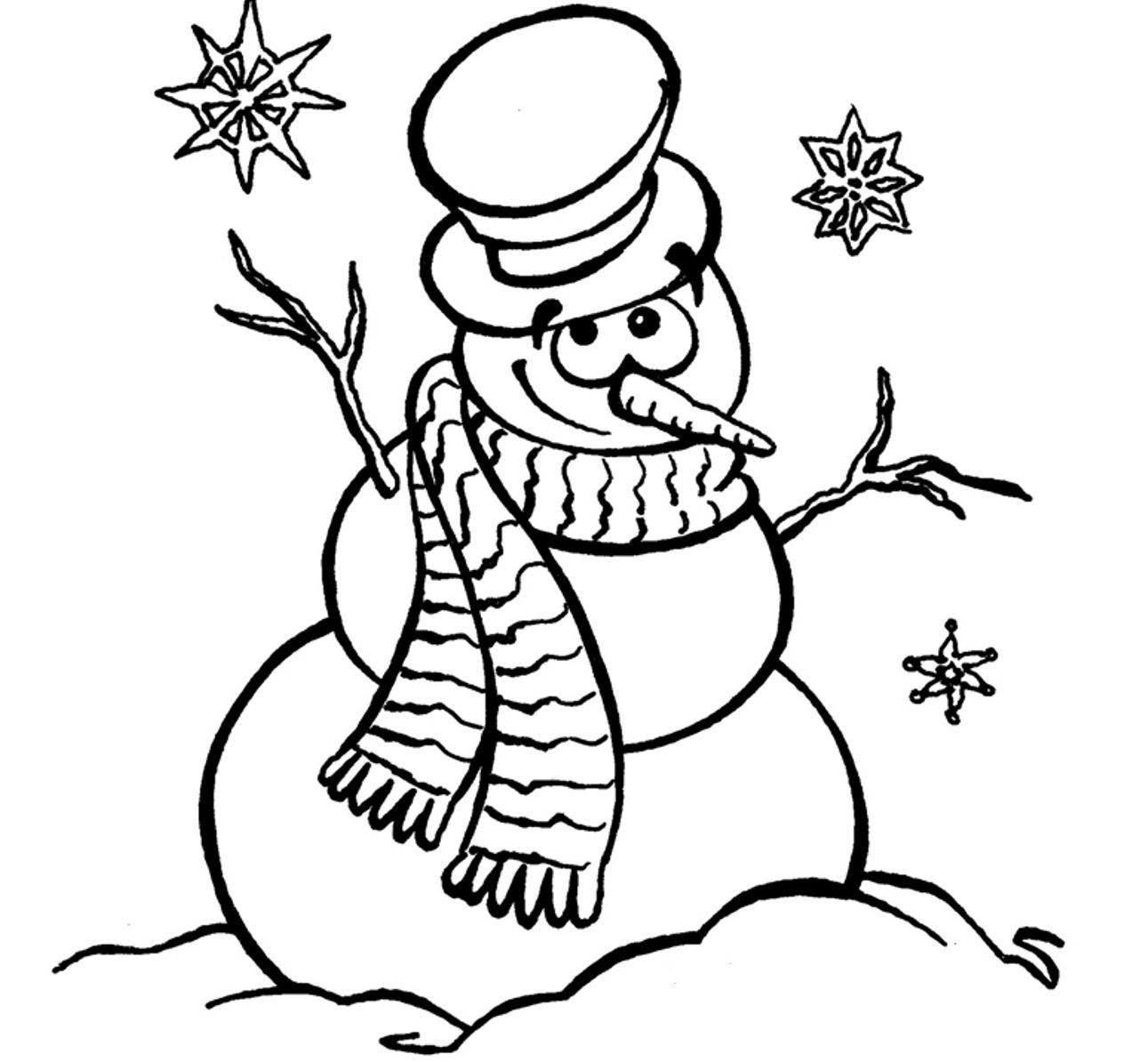 Snowman Line Drawing At Getdrawings