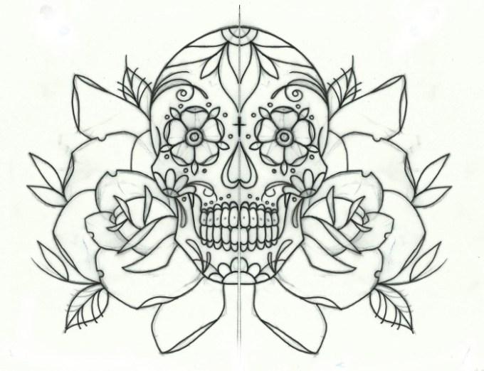 how to draw a sugar skull rose anexa tutorial