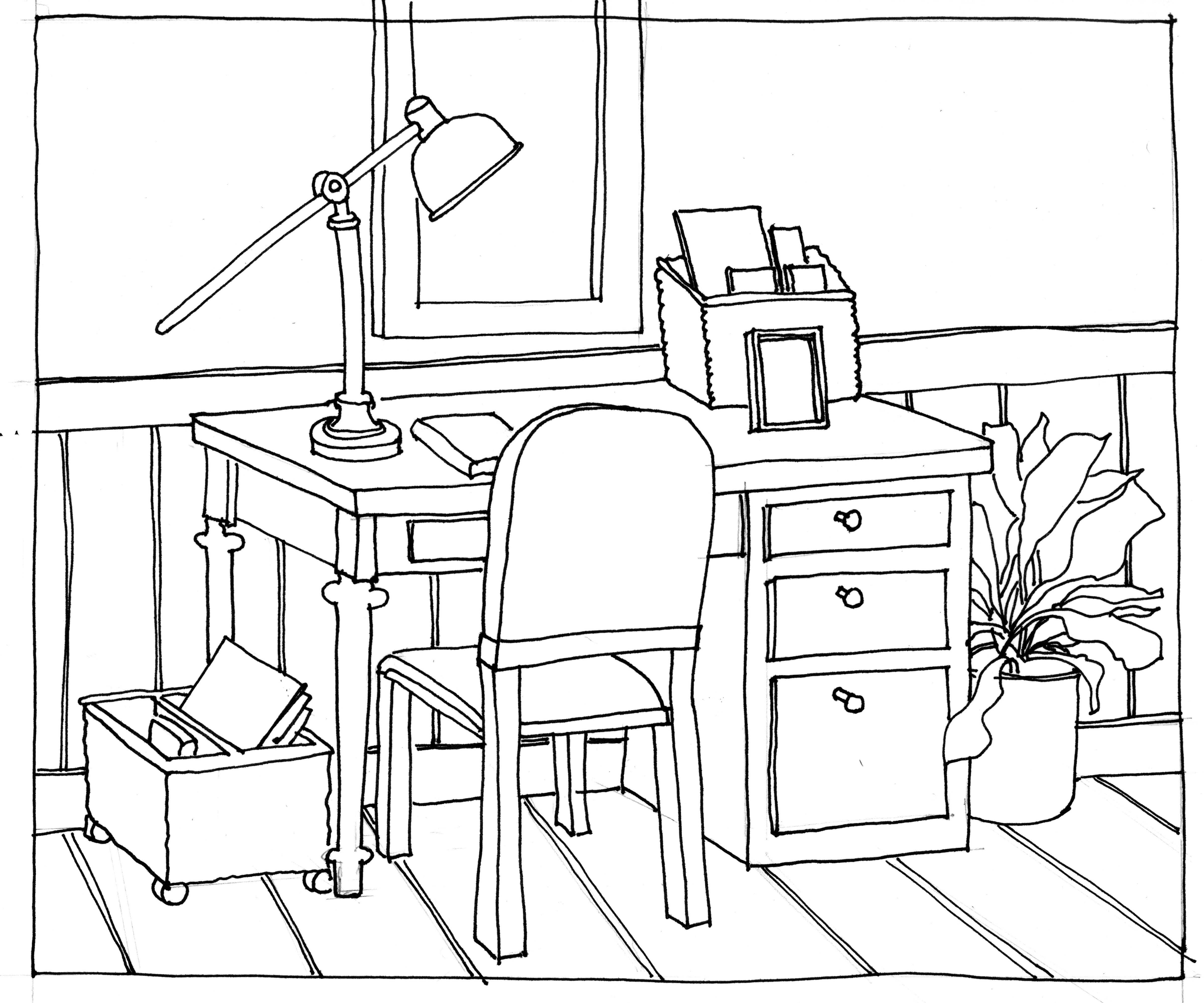 Table And Chairs Drawing At Getdrawings