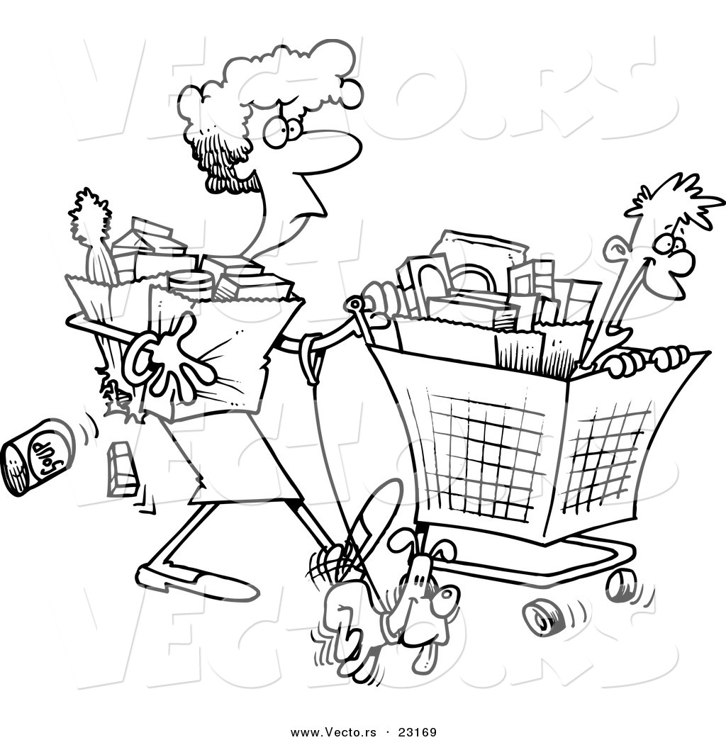 Shopping Bags Colouring Pages Sketch Coloring Page