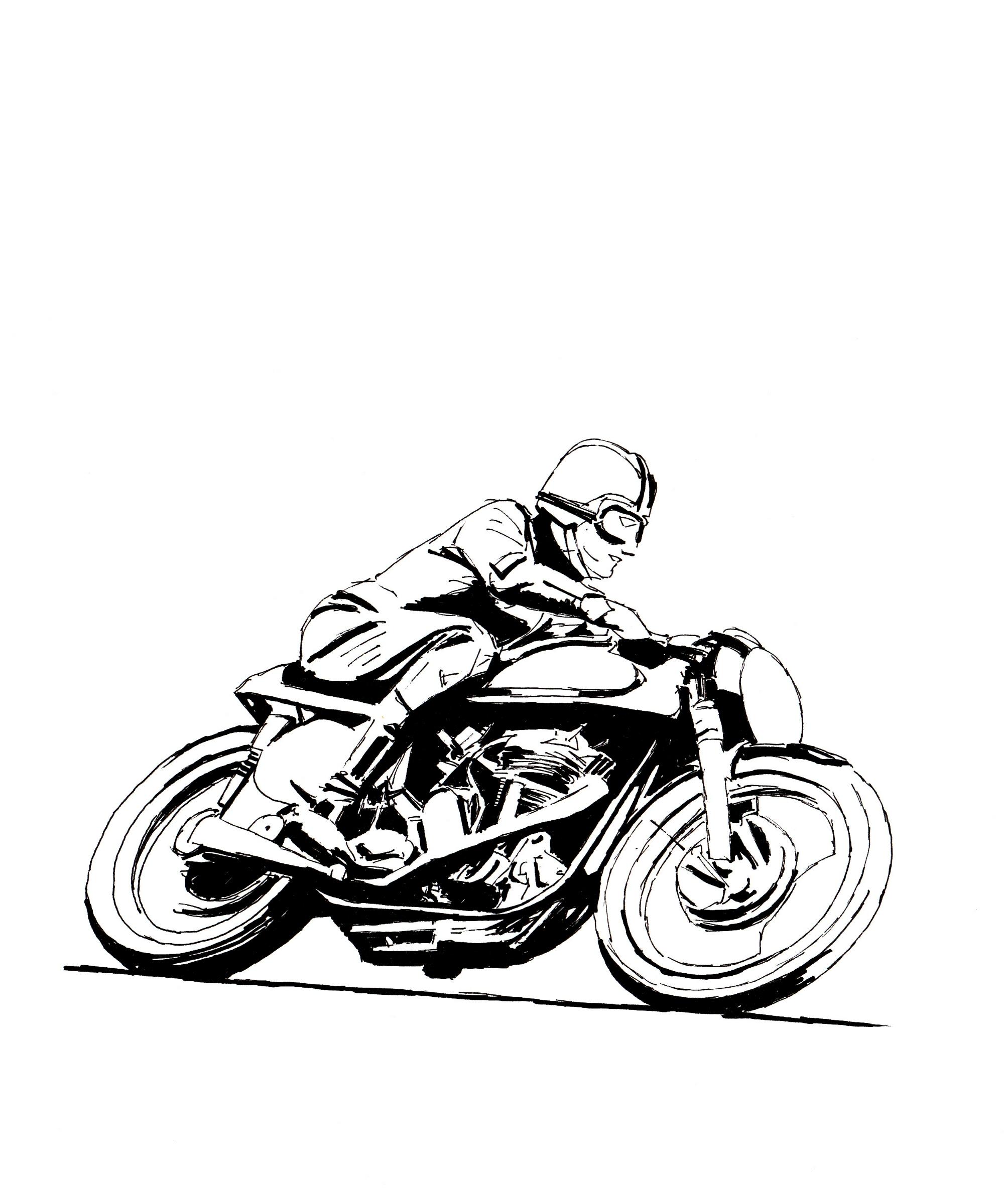 Vintage Motorcycle Drawing At Getdrawings
