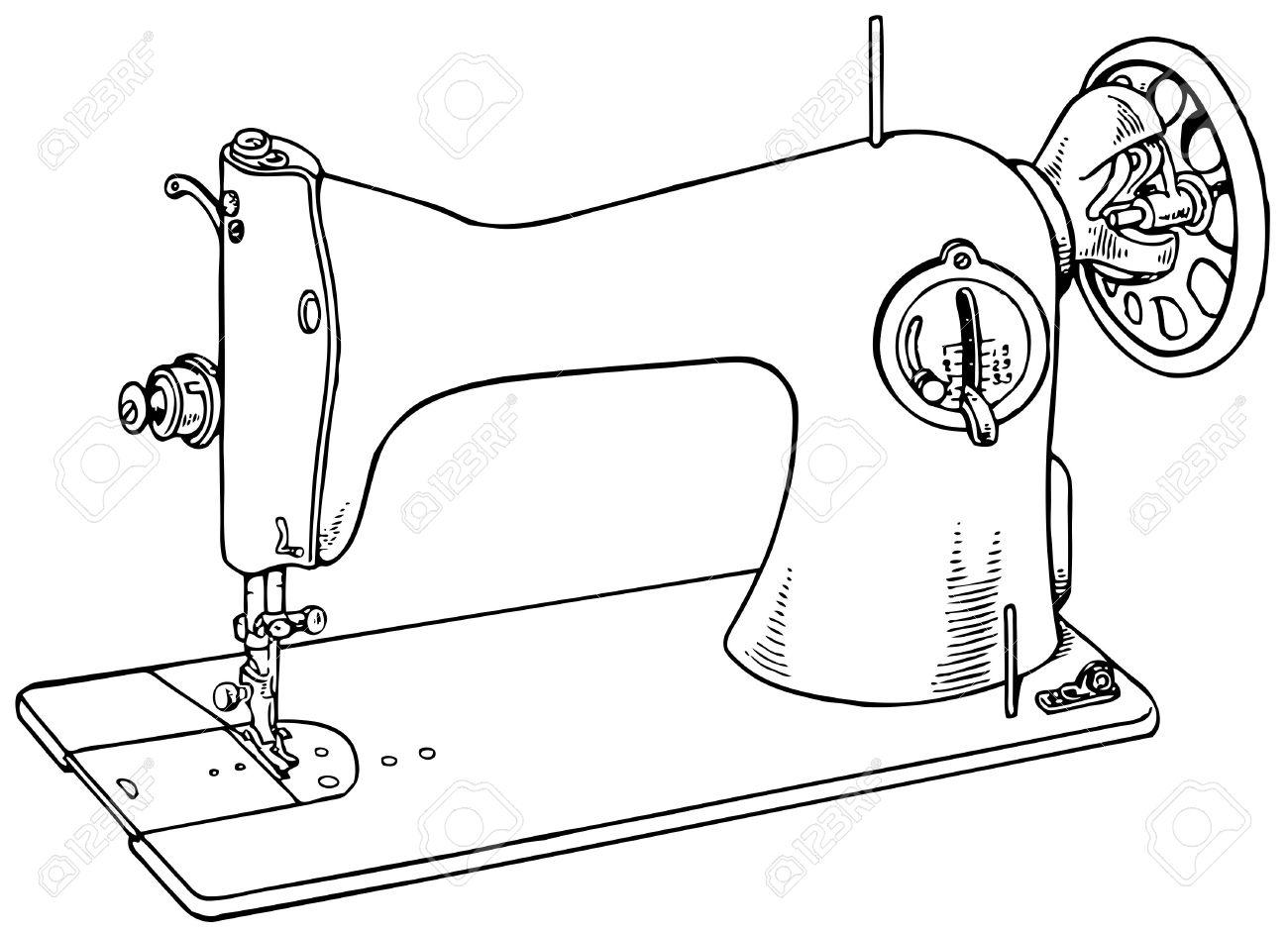 Vintage Sewing Machine Drawing At Getdrawings