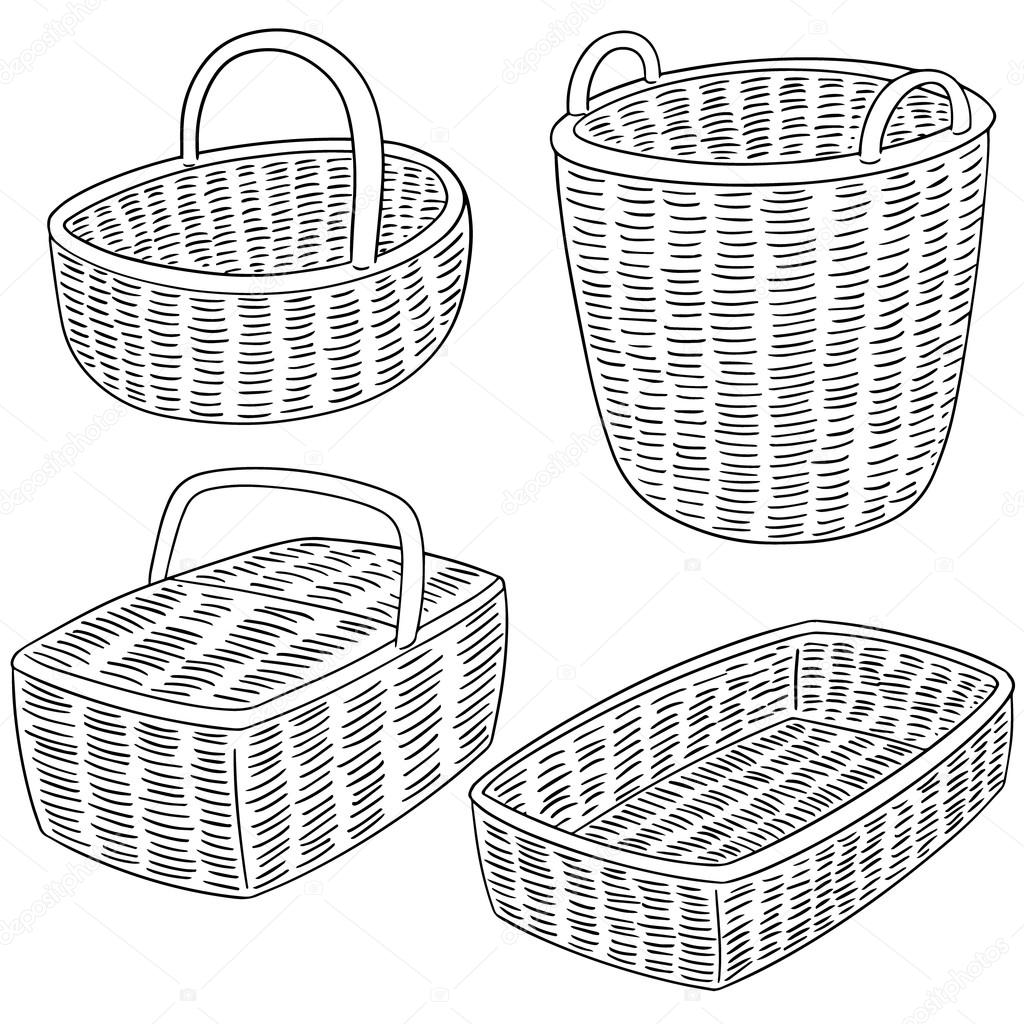 Wicker Basket Drawing At Getdrawings