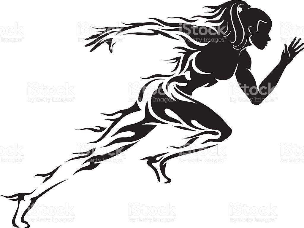 Female Runner Silhouette Vector At Getdrawings