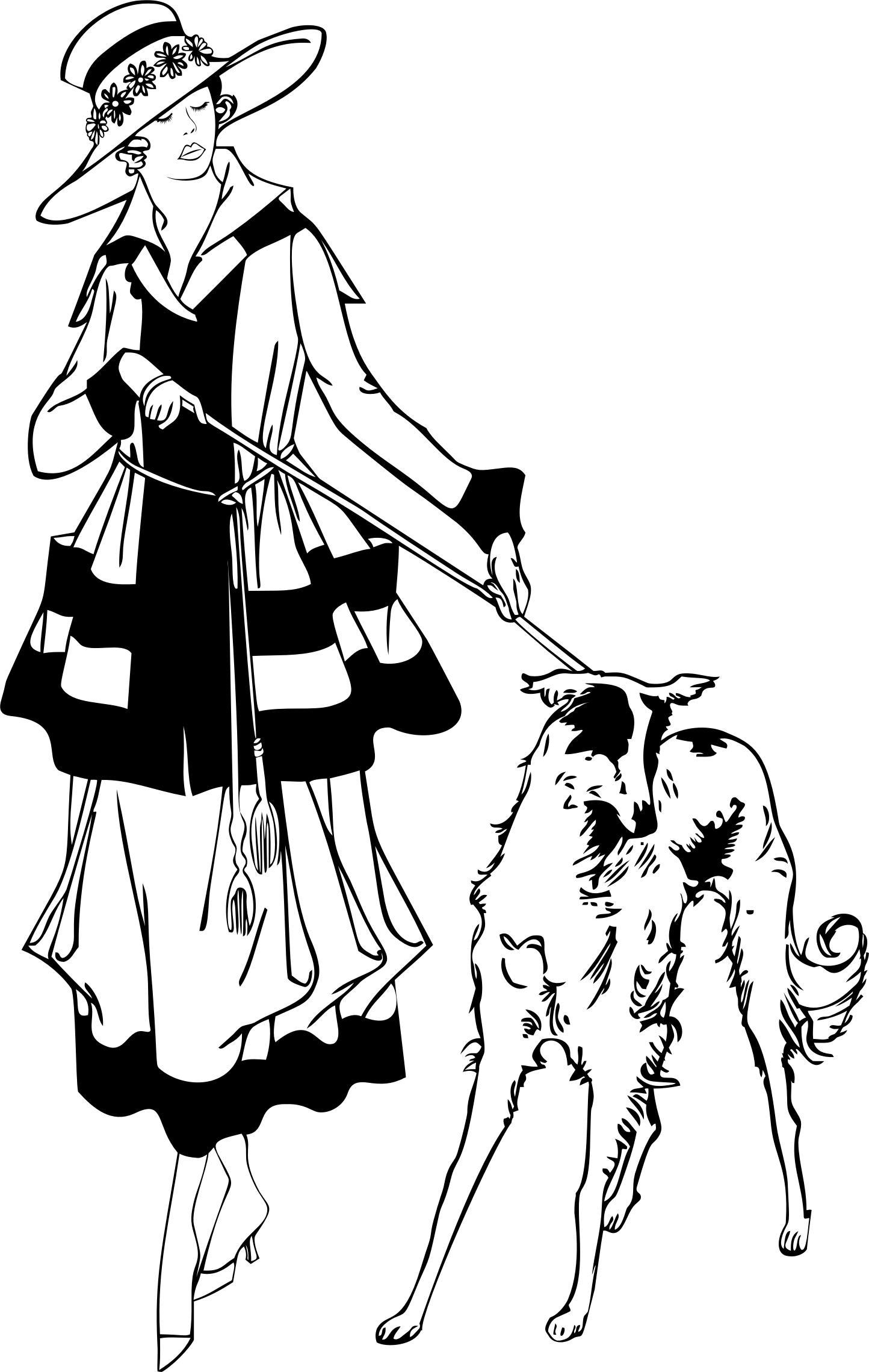 Girl Walking Dog Silhouette At Getdrawings