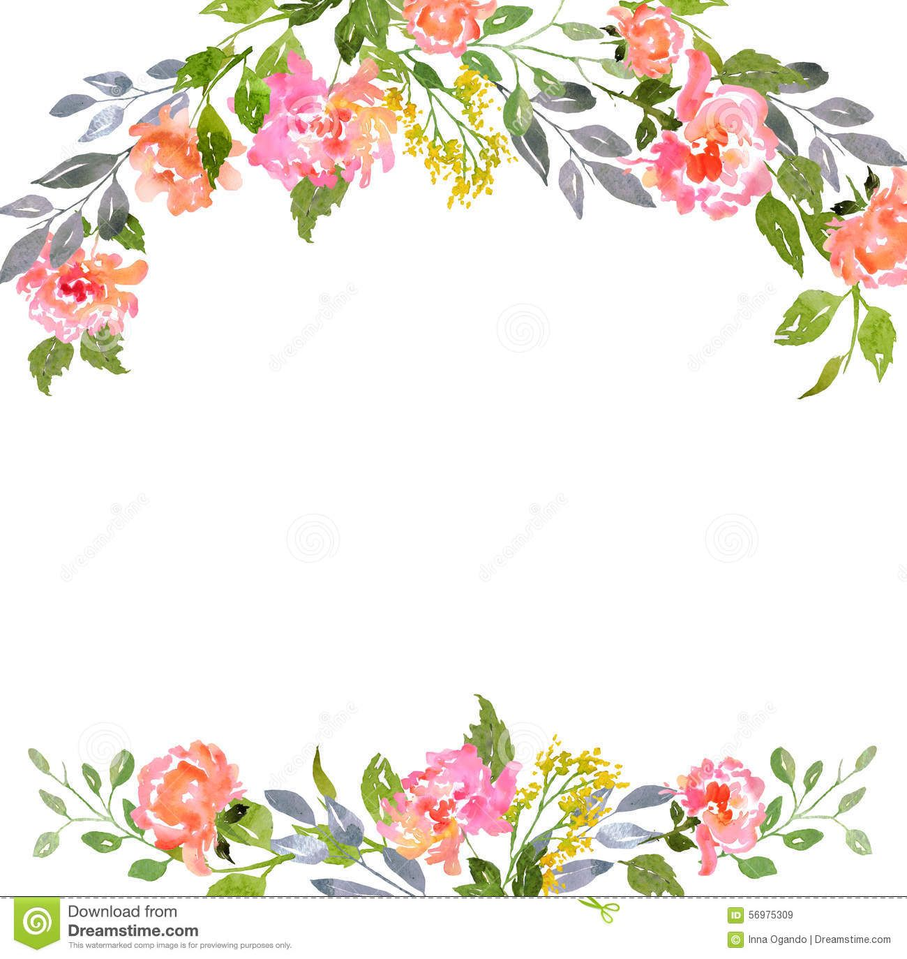 picture about Watercolor Floral Border Paper Printable called Watercolor Floral Border Paper Printable - menu template structure