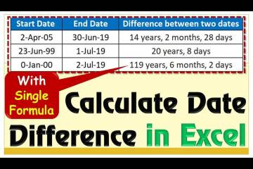 how to calculate date difference in excel