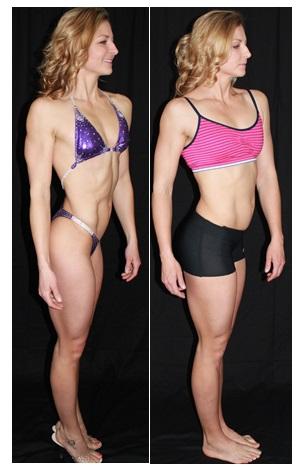 reverse comparison- 2 weeks post contest figure pose
