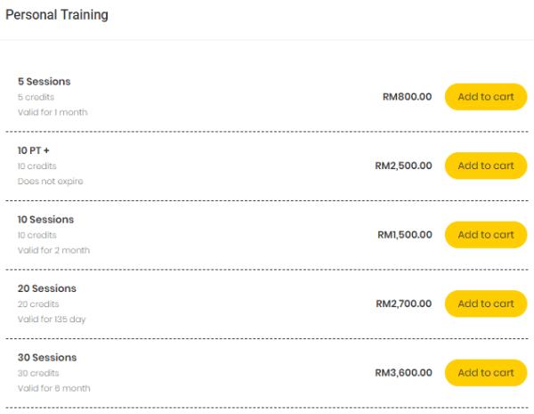 Vitruvio Gym's Pricing