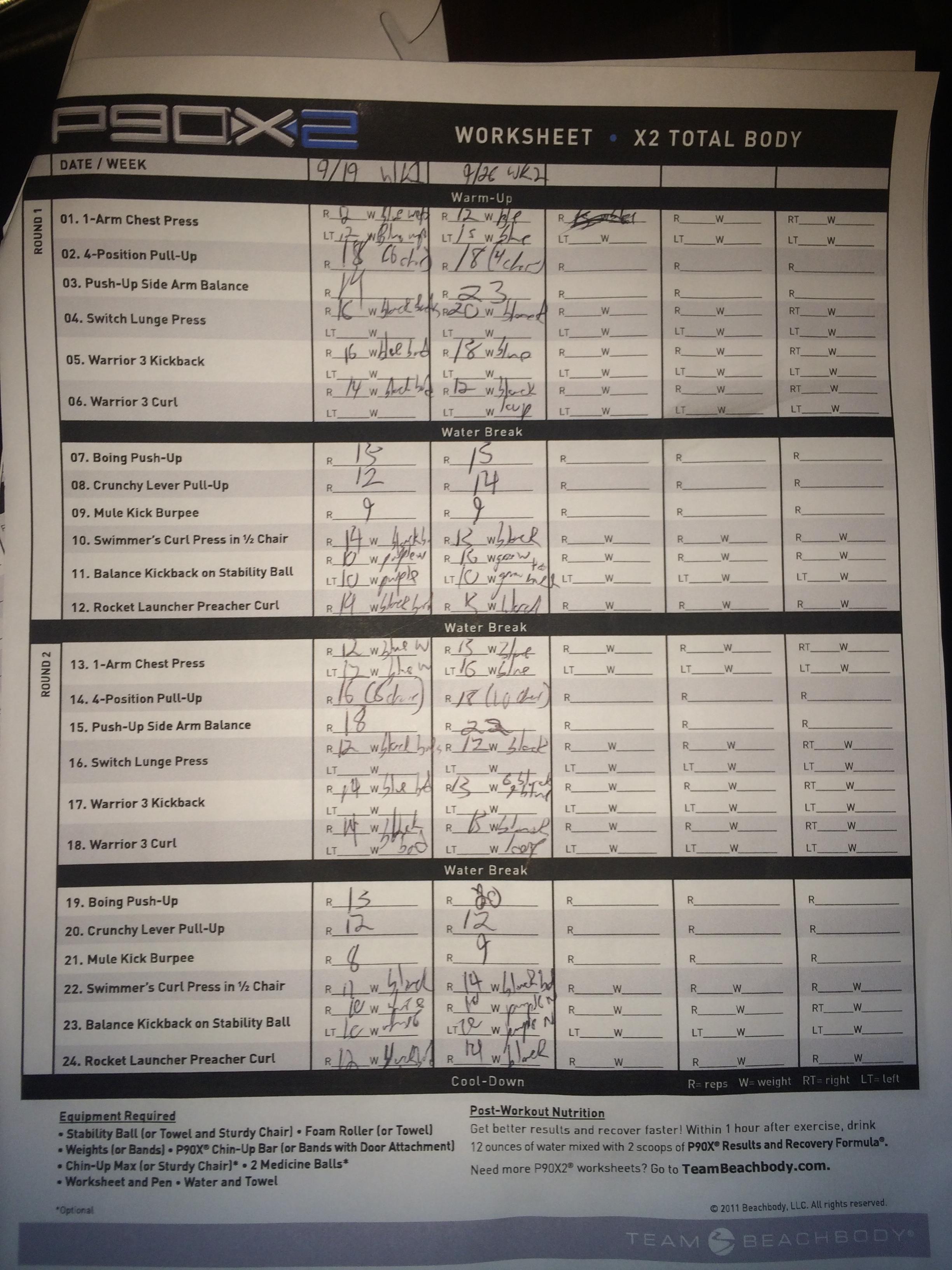 P90x Worksheet Chest Shoulders Biceps | Printable Worksheets and