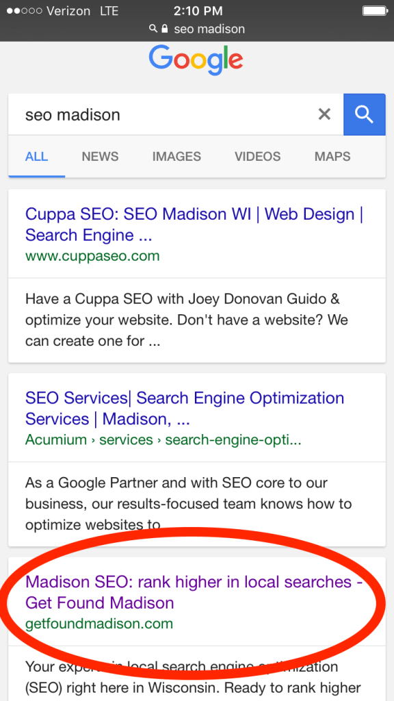 "Get Found Madison Google ranking ""SEO Madison"""