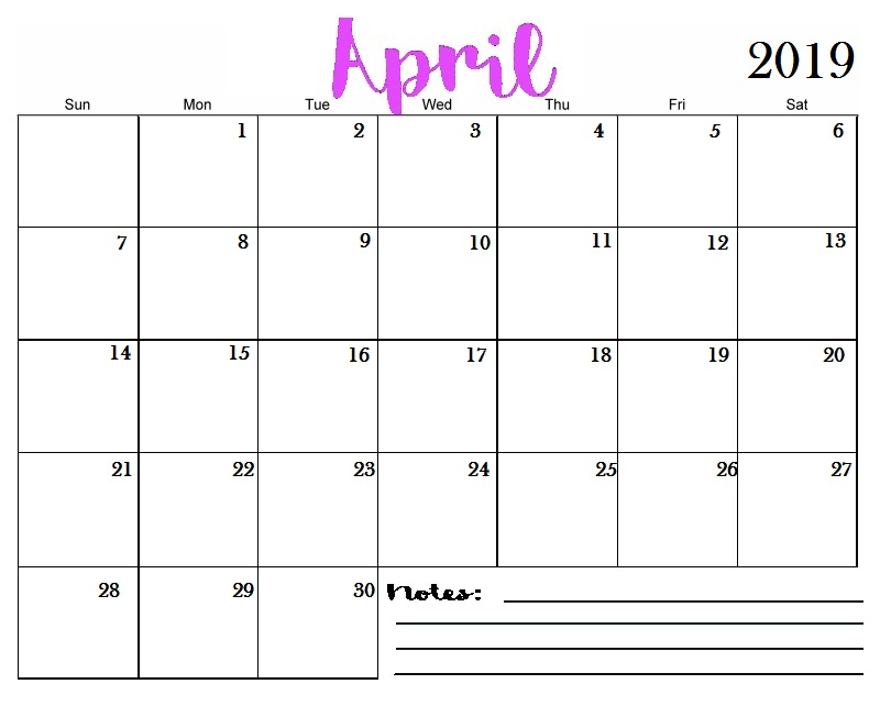 Blank 2019 Calendar Template April 2019 Printable Calendar Templates   Free Blank, Holidays