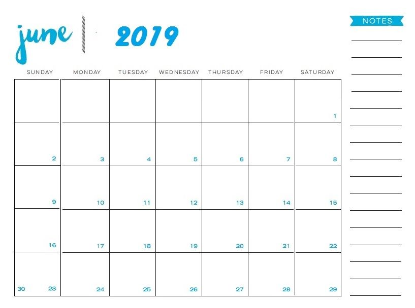 June 2019 Printable Calendar Templates Free Pdf Holidays Free