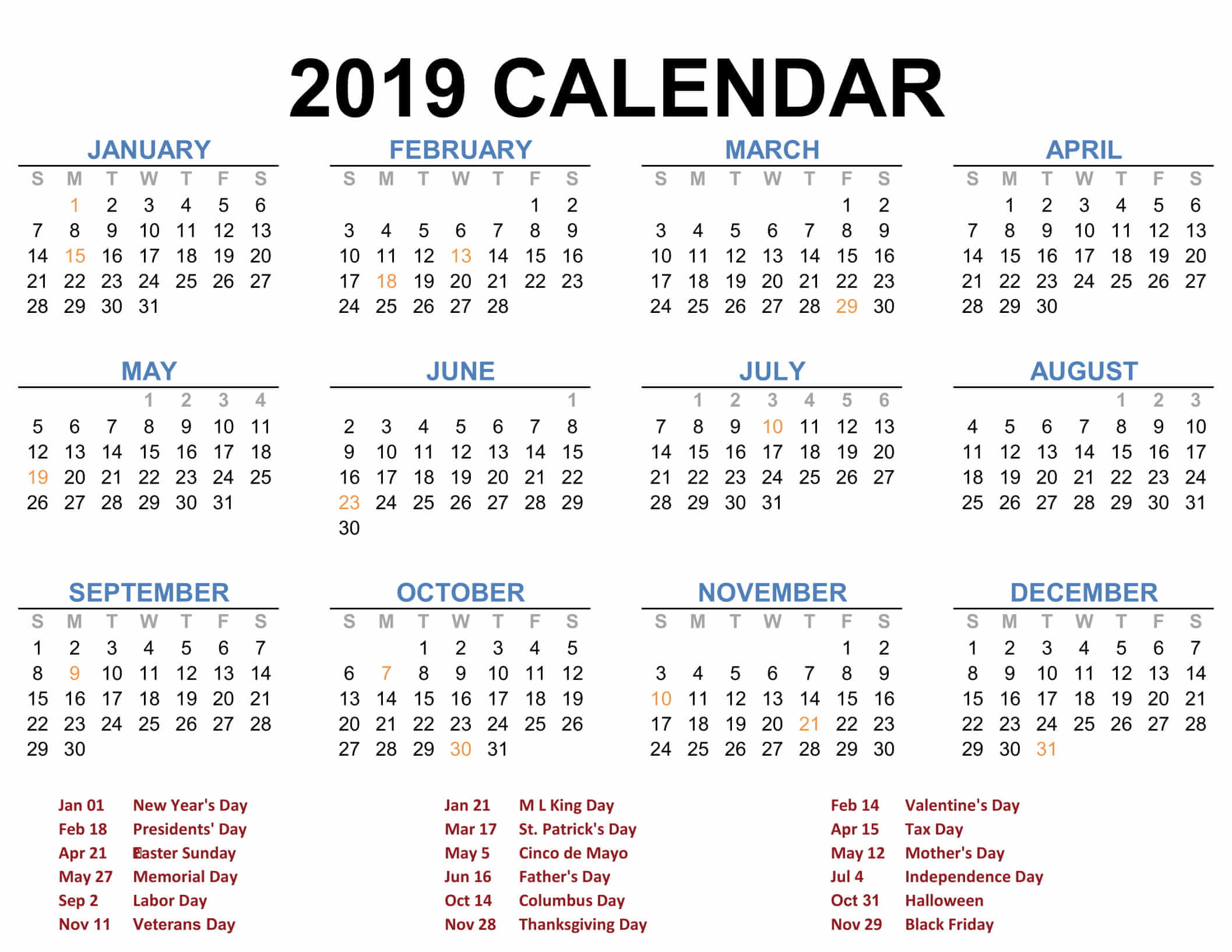 Free 2019 Yearly Calendar Template 2019 Printable Calendar Templates   PDF Excel Word   Free
