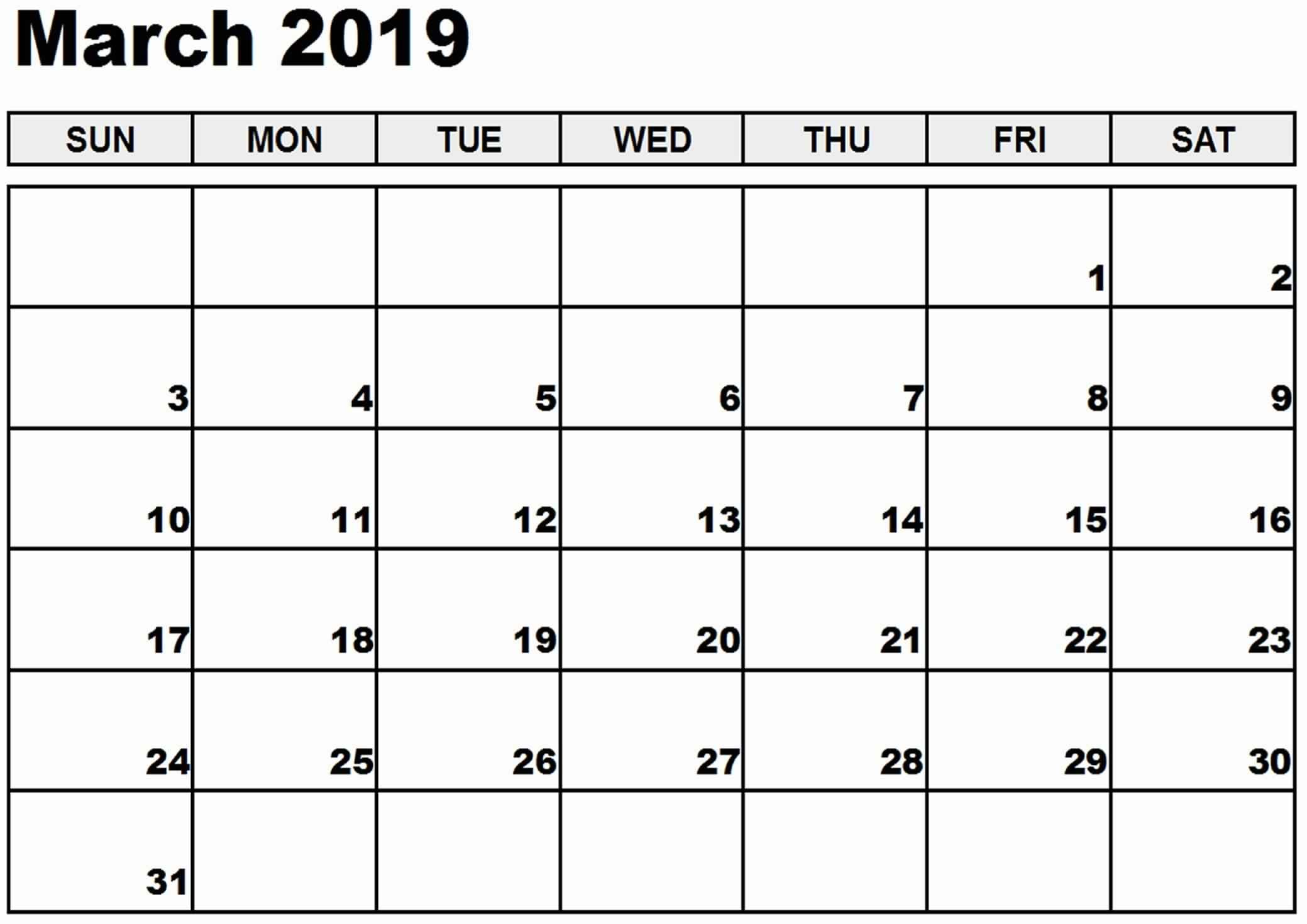 graphic relating to Calendar March Printable named March 2019 Printable Calendar Templates - Free of charge PDF Phrase