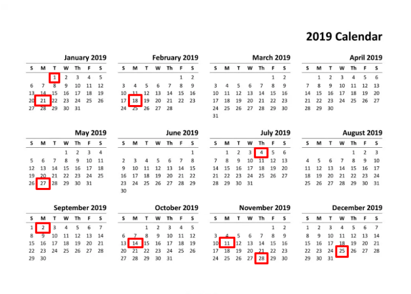Us Calendar 2019.What Are Post Office Holidays 2019 Usps Holiday Calendar Free