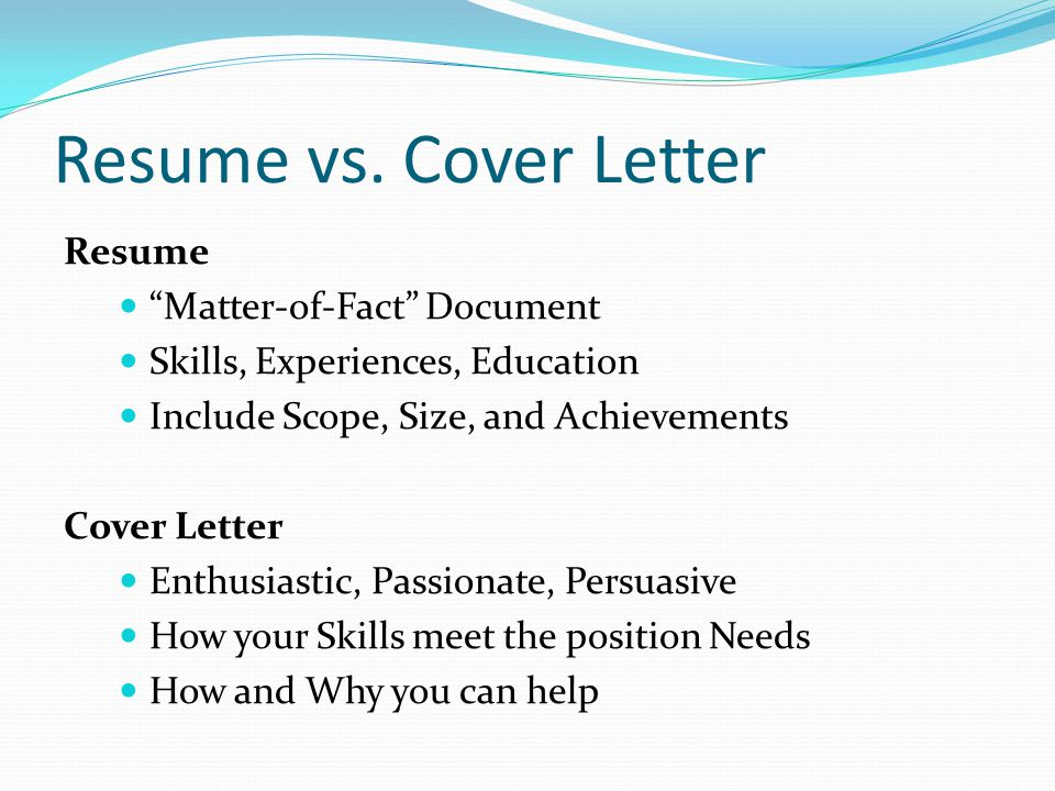 Difference between Resume and Cover Letter (Job Application ...