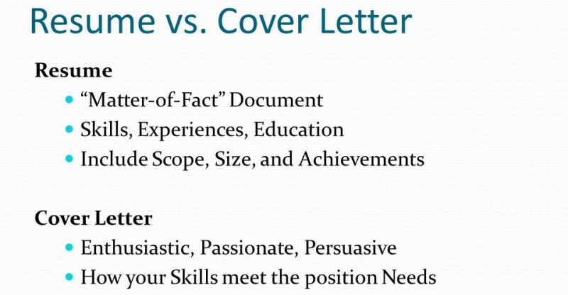 Difference between Resume and Cover Letter (Job Application) - Free ...