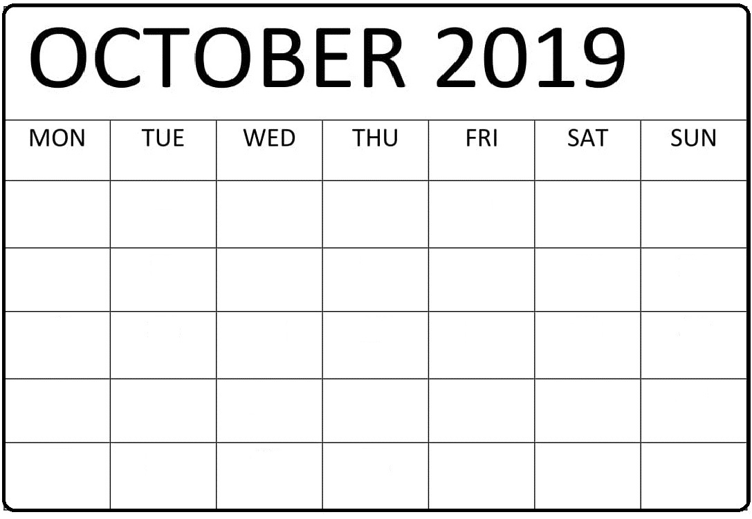 graphic relating to Free Printable Calendars October identify Absolutely free Printable Calendar Oct 2019 Editable - Absolutely free